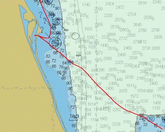 Moira's track, Bahamas to Cape Canaveral