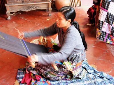 Backstrap loom, Casa del Tejido, Antigua, Guatemala