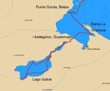 Moira's track, Guatemala to Belize
