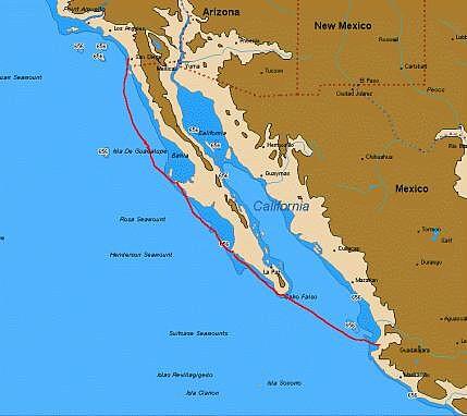 Chart of Moira's track, San Diego, Baja California, Cabo San Lucas, Puerto Vallarta