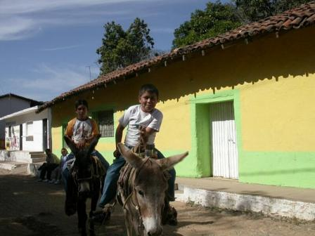 Painted houses and boys on mules, Copala, Mexico