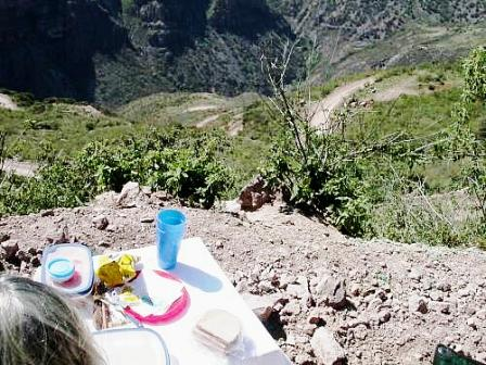 Roadside lunch looking down into Batopilas Canyon, note switchbacks