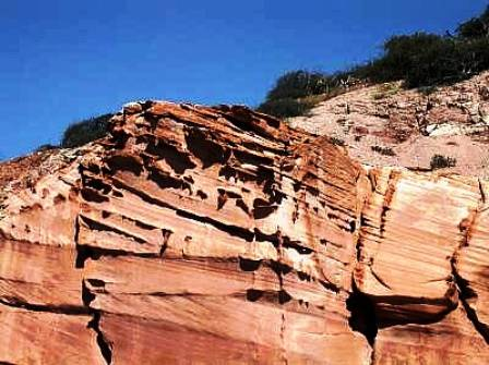Sculpted sandstone, Los Gatos anchorage, Mexico
