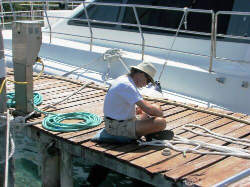 Whipping new docklines, Marina Paraiso, Isla Mujeres