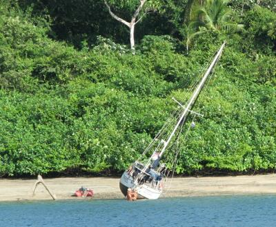 Boat careened for maintenance, Isla Espiritu Santo, Panama