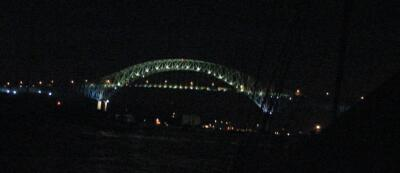 Puente de las Americas at night, seen from Balboa Yacht Club