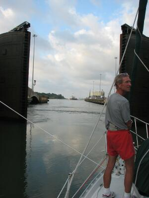 Entering the Caribbean from Gatun Locks, Panama Canal transit