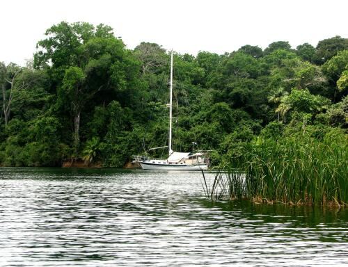 Moira at anchor in Rio Chagres Panama