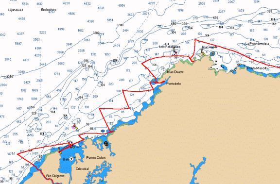 Chart of Moira's track, Rio Chagres to Isla Grande/Isla Lintón, Panama