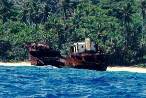 Shipwreck, freighter near Escribanos Shoal, Panama