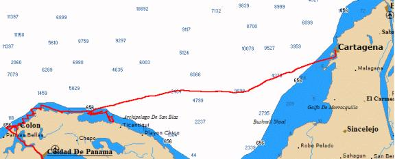 Chart of Moira's track, Panama to Cartagena, Colombia