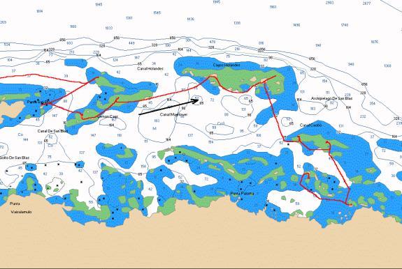 Chart of Moira's track, Kuna Yala (San Blas) Islands, Panama