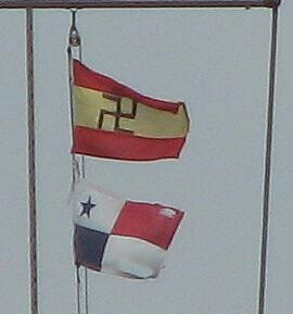Kuna Yala Comarca courtesy flag above Panamanian courtesy flag