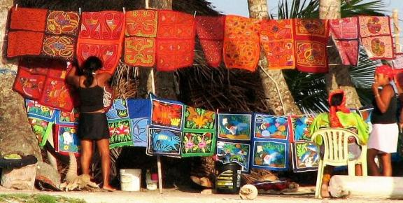 Display of molas, Kuna Yala (San Blas) Panama