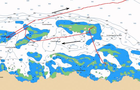 Chart of Moira's track, Kuna Yala (San Blas) Islands to Porvenir and exit to Cartagena Colombia