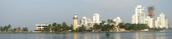 Skyline of Boca Grande, Cartagena Colombia, including lighthouse