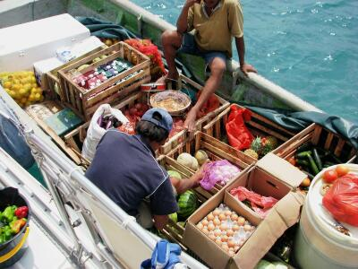 Colombian veggie boat, San Blas Islands, Panama
