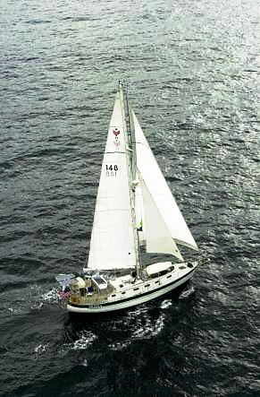 Moira under way, at the start of the 2004 Baja Ha-Ha