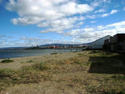 Waterfront of Punta Arenas, Chile, Naval ship in background