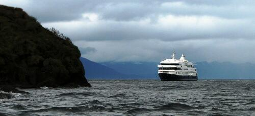 Mare Australis Cruise Ship anchored off Tucker Island